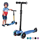 PRINIC Kick Scooter for Kids Boys Girls, 3 Wheel Scooter for Toddler for 2-5 Years Old, Adjustable Height, Light Up Flashing Wheels, Removable Handlebar, Lean to Steer, Easy to Carry, Blue