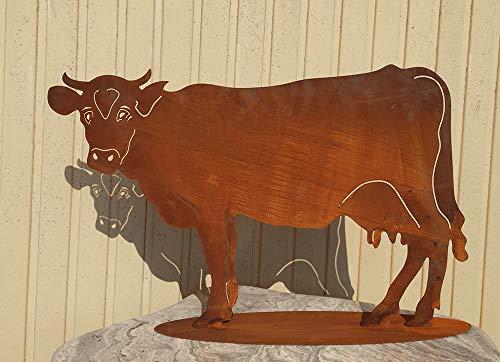 Kuh 42x65cm Bauernhof Kühe Rind Stier Rost Edelrost Metall Tier + Original Pflegeanleitung von Steinfigurenwelt
