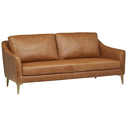 Amazon Brand – Rivet Alonzo Contemporary Modern Leather Sofa Couch, 80'W, Cognac