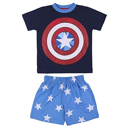 Avengers Capitan America Camiseta y Pantalones Cortos para Niños, Pijama de 2 Piezas para Niños, Algodón, Conjunto de Verano, Regalo para Niños, 3 Años