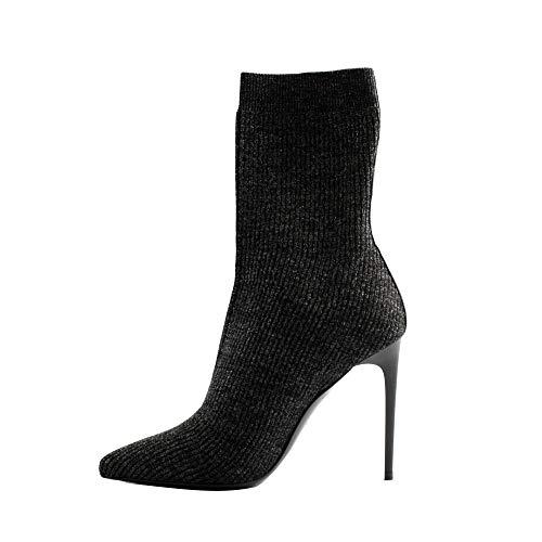 Tiffi laarzen voor dames, elastisch, glinsterend, zwart (kousenlook). Ultra Slim hak: 10,5 cm. Gemaakt in Italië.