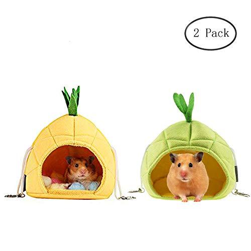 Yu-Xiang Bananen-Hamster-Hängematte, Ananas, Rennmäuse, Nest, goldene Hamsterbetten für kleine Tiere, zum Schlafen und Spielen, Ananas-Grün-Gelb
