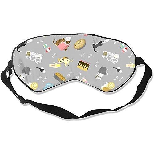 Slaapmasker, kat bakken cake op grijze stijlvolle kleurrijke oogbinden voor reizen yoga naps
