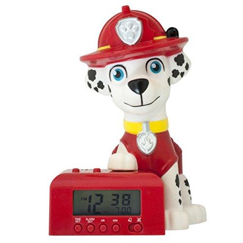 BulbBotz Paw Patrol 2021319 Marshall Kinder-Wecker mit Nachtlicht und typischem Geräusch , rot/weiß, Kunststoff , 14 cm hoch , LCD-Display , Junge/ Mädchen , offiziell