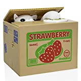 Yadale Piggy Bank for Kids, Mischief Cat/Panda Stealing Coin Bank for Kids, Electronic Money Saving Bank Birthday Gift for Boys Girls Children(Strawberry)