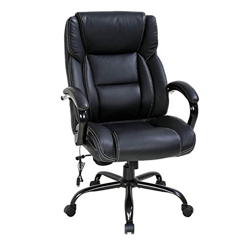 High Back Big & Tall 500lb Leather Office Chair,Heavy Duty Executive Computer Desk Chair with Vibration Massage Lumbar Support,Tilt Recliner Ergonomic Rolling Swivels Chair with Thick Seat Cushion