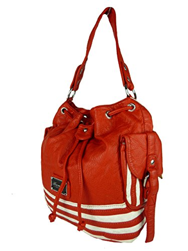 Kumixi Cloé Handtasche kleine Sacktasche gestreift Taschen Schultertaschen Sack Streifen 28x25x14 cm (rot gestreift)
