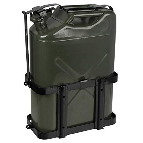 Lata de combustible de 10/20 litros, tanque de combustible portátil con estante para bidón de aceite, boquilla universal, bidón de metal a prueba de derrames para automóviles y motocicletas