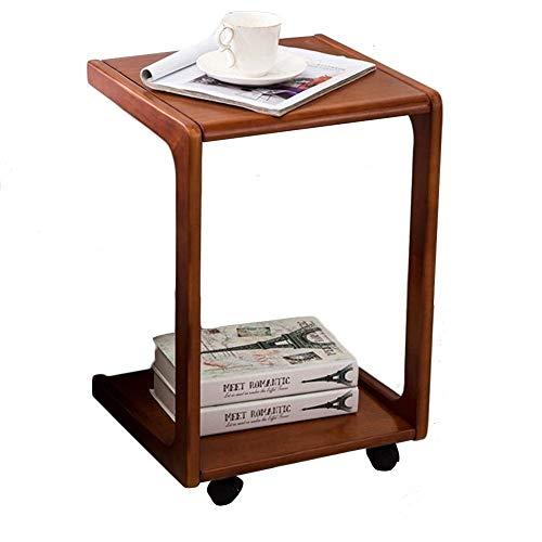 Alvnd Houten bijzettafel, verwijderbaar laptopbureau, mobiele snacktafel voor koffie-laptop-tablet, met flessenband