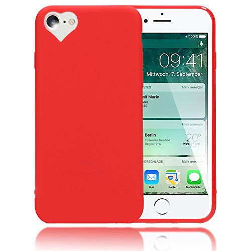 NALIA Cover Cuore compatibile con iPhone SE 2020/8 / 7 Custodia, Protettiva Morbido Silicone Copertura Sottile Gomma Gel Bumper, Ultra-Slim Case Skin Antiurto Guscio Grip Etui, Colore:Rosso