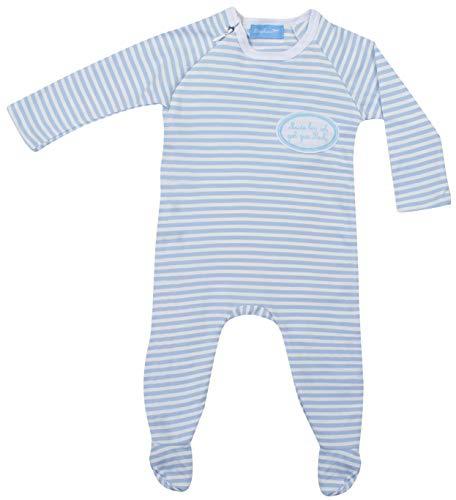 Ringelsuse Baby Schlafanzug Babyschlafanzug Schlafstrampler Müde Bin ich GEH zur Ruh blau weiß (Blau, 62/68)
