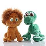 cgzlnl 2Pc Movie Toy The Good Dinosaur Arlo Spot Boy Morbida Bambola di Peluche Farcita, con Corda di Aspirazione Giocattoli Giocattolo per Bambini