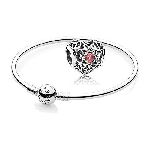 Pandora [A] Original Geschenkset - 1 Silber Armreif 590713-21 + 1 Silber Charm 791784GR Januar-Herz