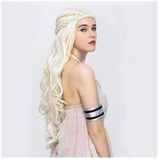 Daenerys Targaryen Cosplay Wig for Game of Thrones Season 7 – Khaleesi Costume Hair Wig (Light blonde)