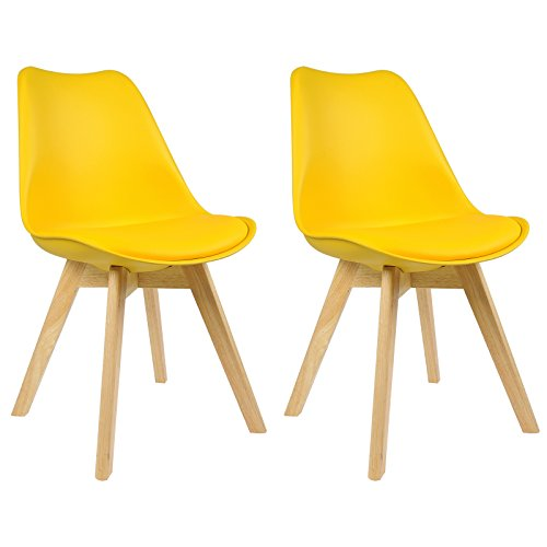 WOLTU Tulip Chairs Kitchen Dining Chairs Set of 2 pcs Counter Lounge Leisure Living Room Corner Chairs Yellow Chairs Faux Leather Reception Chairs with Backrest Soft Cushion