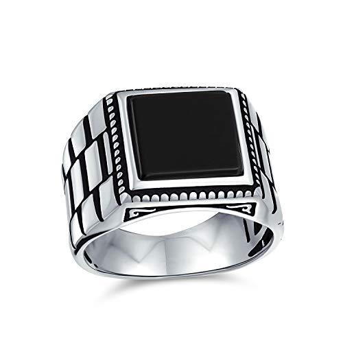 Retro reloj banda estilo grabado banda negro onyx cuadrado signet anillo para hombres pesados 925 plata de ley a mano en Turquía
