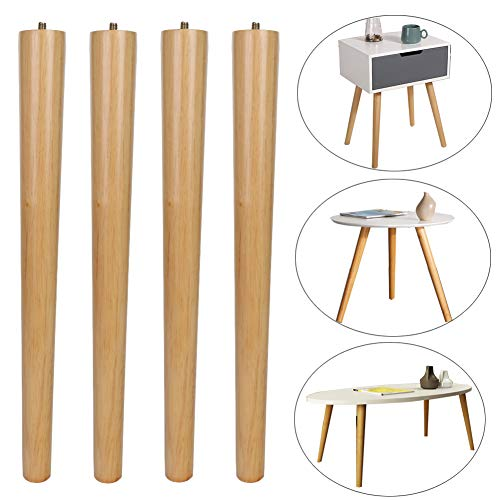 MEETWARM 16 inch Table Legs Wood Furniture Legs Tapered Round for Coffee End Tables Side Table Chair Mid-Century Modern DIY Furniture Leg Natural M8 Hanger Bolts, Set of 4