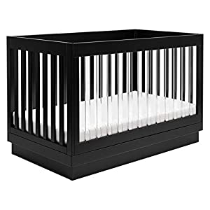 Babyletto Harlow Acrylic 3-in-1 Convertible Crib with Toddler Bed Conversion Kit in Black with Black Base and Acrylic Slats, Greenguard Gold Certified