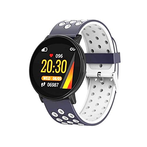 KMF W8 Smart Watch, Reloj Inteligente Impermeable para Hombres y Fitness Fitness para Mujer Reloj Inteligente Reloj cardíaco Monitor de presión Arterial para Android iOS,E