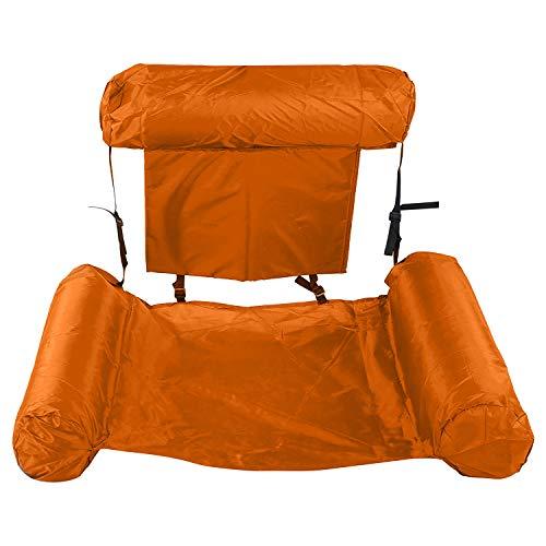 ZMDHL Aufblasbare Hängematte, Pool Float Lounge Wasserstuhl Wasser Hängematte 4-in-1 Ultrabequeme Luftmatratze Schwimmende Wasser Bett Matte Schwimmstuhl Poolsitze Liege.(Orange)