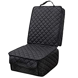 HAPYFOST Waterproof Front Seat Cover Dog Car Seat Covers Nonslip and Full Protection with Side Flaps Fits Most Cars, Trucks, SUVs(Black)