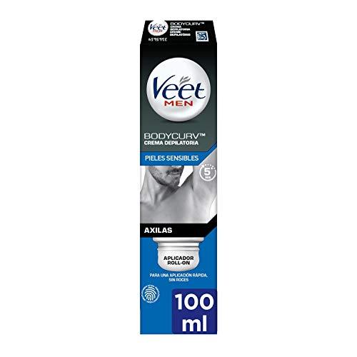 Veet Men Crema Depilatoria Hombre para Axilas con aplicador Roll-On - Adecuado para Pieles Sensibles - 100ml