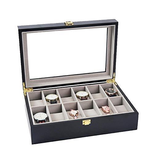 Caja para Relojes Hombre Cajas para Joyas Mujer Caja Relojes Regalo Madera Caja de Almacenamiento de Exhibición de Joyería Mate de Franela 32 * 21 * 9 Cm