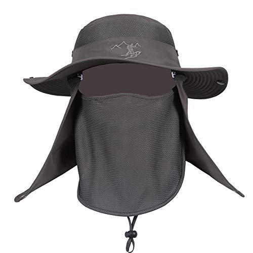 Oupai Schutzmaske Hut Männer Angeln Cap mit abnehmbaren Klappen, Mode Sommer Outdoor-Sonnenschutz Angeln Cap Ausschnitt Gesicht Flap Hat Wide Brim 61cm-64cm (Color : A)
