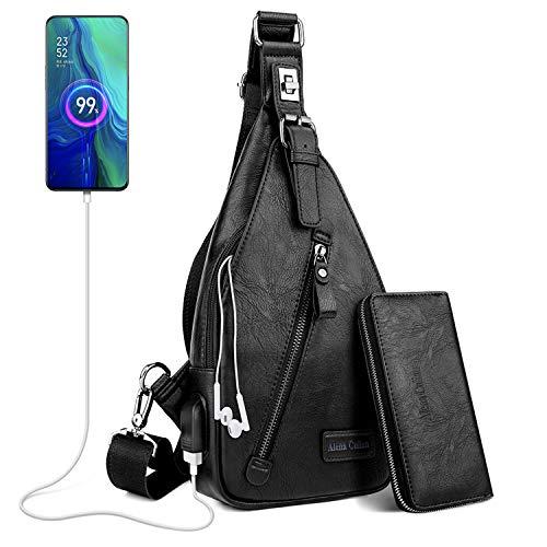 Alena Culian Sling Bag Men Leather Chest Bag Crossbody Shoulder Bag Daypack Backpacks With Clutch Wallet (classic black)
