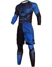 XUEbing Heren Compressie Broek Shirt Top Lange Mouwen Set Pak Shorts Met Elastische Taille Leggings Fitness Running Set