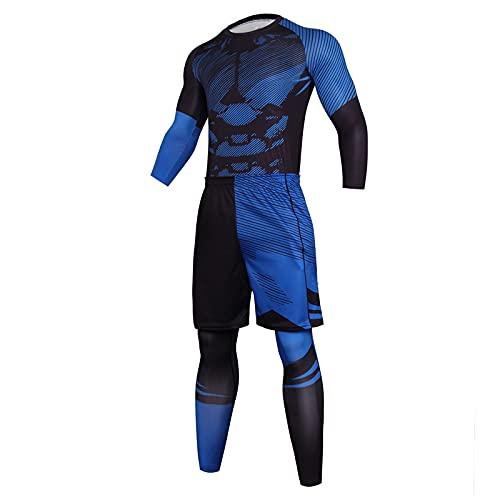 Claystyle Sportbekleidung Herren Fitness Bekleidung Trainingsanzug 3pcs Set Fit elastische Sportwear Fitness Anzug Set Gym Yoga Kompressionsshirt Sporthose Leggings
