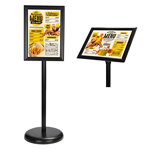 Soporte Para Cartel - A4 Negro Atril Expositor - Soporte Para Letreros Aluminio - Atril de Pie Pedestal con Ajustable Macro y Base Rellenable con Agua Para Exhibiciones, Restaurantes, Oficina ✅