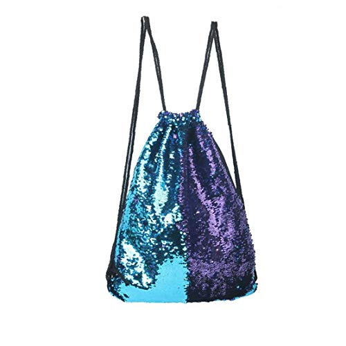 Sequin Drawstring Bag Creative Drawstring Backpack Sparkly Gym Dance Bag Outdoor Double Shoulder Backpack for Hiking Beach Travel Bags 1pc Purple and Blue Convenience Bag