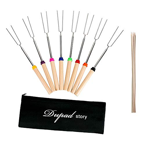 Marshmallow Roasting Sticks,32Inch Extendable Smores Sticks for Fire Pit,10pcs Bamboo Skewer and Set of 8 Campfire Roasting Sticks with Portable Bag for Grilling,Campfire, Camping, Bonfire