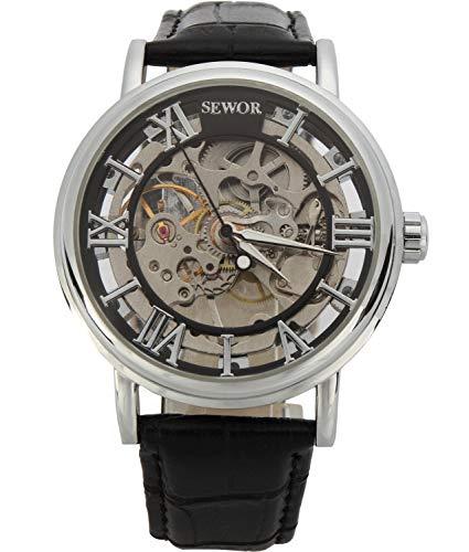 SEWOR Herren Mechanische Skelett aufziehbar transparent Armbanduhr mit Vintage Style (Weiß Schwarz)