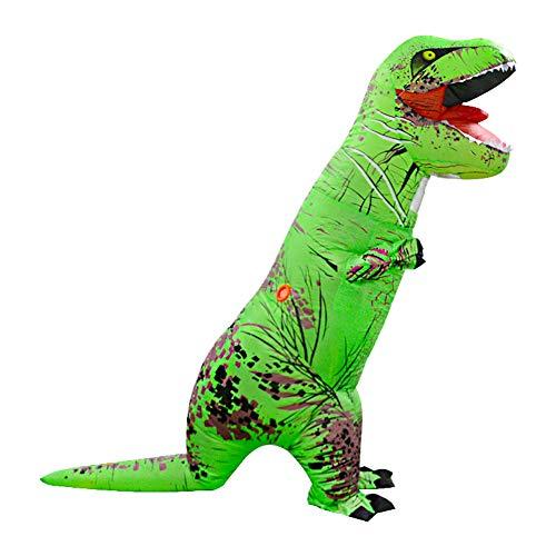 LOLANTA Disfraces de Fiesta para Adultos Divertidos Disfraces de Dinosaurio Disfraces de Halloween para Adultos (T-Rex Verde, Niños)