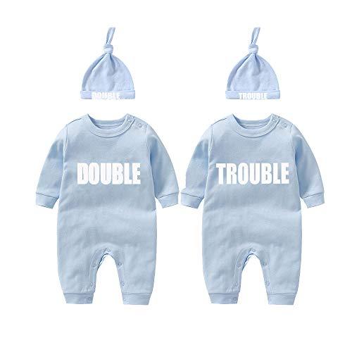 culbutomind Twins Baby Bodysuits Doble Problema Lindo Traje con Sombrero Bebé Pijamas Nuevo Nacido Ropa Twins Regalo