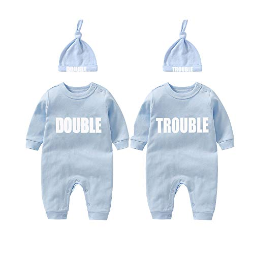 Culbutomind - Body de bebé para gemelos, doble problema, lindo atuendo con sombrero, pijama para recién nacido, ropa para gemelos Azul Azul Bt 4-6 Meses