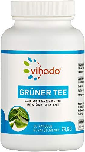 Vihado Grüner Tee Kapseln – natürliche Pflanzenstoffe ohne Zusätze – enthält EGCG und Polyphenole – Nahrungsergänzungsmittel mit wertvollem Grüntee Extrakt – 90 Kapseln