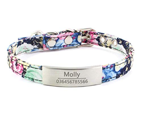 OYASUMI HANDMANDE Hottest! Personalized Dog Collar Laser Engraved Name Collar for Puppies with ID Tags Bell Floral Pattern Dog Supplies Pet Products (XXS Neck 12-17 cm, Blue Rose)