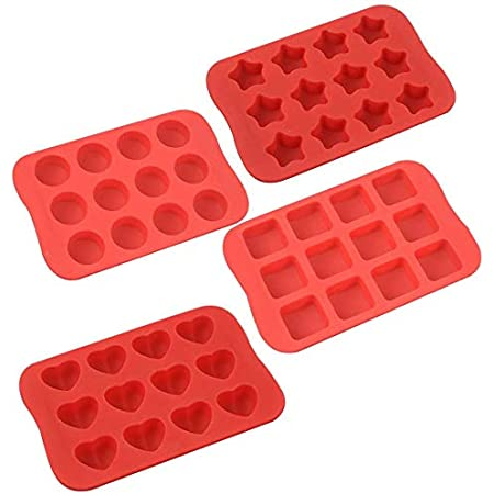 COLIBROX Silicone Baking Mold, Chocolate Molds&Candy Molds Set, Tray 4-in-1 Silicone Molds Set for Cupcakes,Muffins,Soap and Brownies-Red
