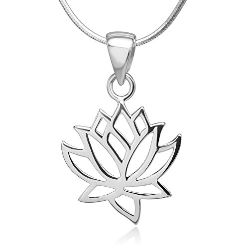 Women's 925 Sterling Silver Lotus Flower Pendant Necklace with 18 inch Italian Silver Chain
