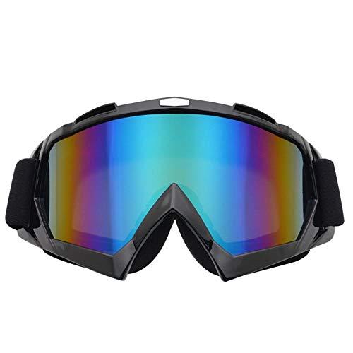 Zhuwuneng Occhiali per Moto Invernali All'Aperto Occhiali per Locomotiva Fuoristrada Occhiali per Casco per Parabrezza Esterni Occhiali per Sci da Equitazione, Pellicola A Colori con Cornice N