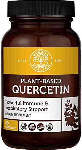 Global Healing Plant-Based Quercetin Supplement Capsules To Support Immune System Function, Respiratory Health & Body's Natural Response To Occasional Allergies - Non Drowsy Feeling - 250 mg, 60 Count