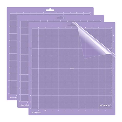12x12 Strong-Grip Craft Cutting Mat for Silhouette Cameo 3/2/1(3 Pack), Monicut Cut Mats with Durable Adhesive Non-Slip PVC Perfect for Quilting, Scrapbooking, Sewing and All Arts