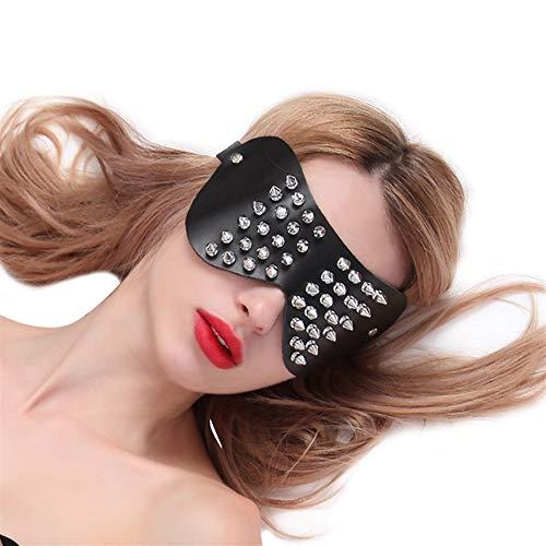 QPLNTCQ Appell Leder Augenmaske Mund stecker Nagel Leder Maske Spielzeug augenklappe eyeshade Abdeckung (Color : Schwarz)