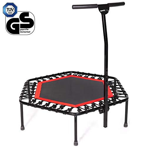 Sportplus Silent Fitness Mini Trampoline with Adjustable Handrail Bar – Indoor...