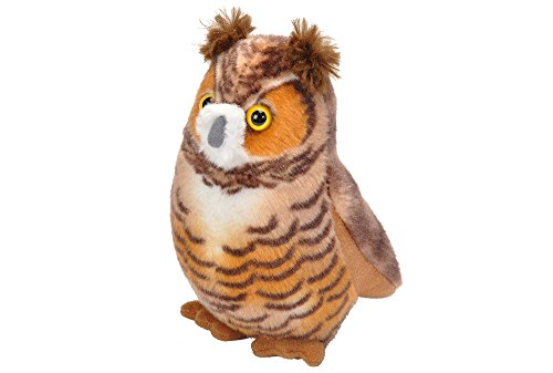 Wild Republic Audubon Birds Great Horned Owl with Authentic Bird Sound, Stuffed Animal, Bird Toys for Kids and Birders