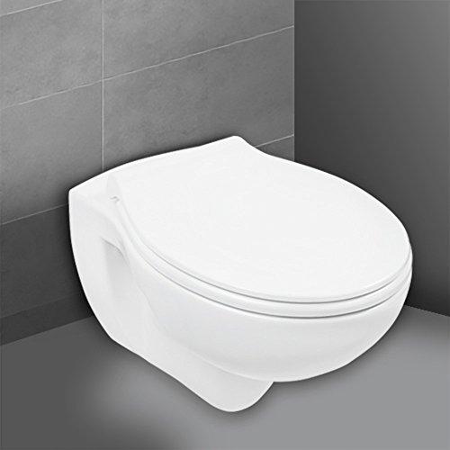 Wand-WC-Set Jonas | Spülrandlos | Inklusive WC-Sitz | Tiefspüler | Weiß | Spülrandlose Toilette | Spülrandloses Hänge-WC | Hängetoilette | Hygiene Plus | Toilettensitz mit Absenkautomatik & Take-Off