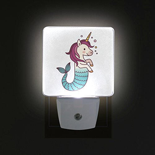WIHVE Unicorn Mermaid Plug-in LED Night Light Lamp with Dusk to Dawn Sensor for Bedroom Bathroom Kitchen Hallway Stairs, Compact Size-2 Pack